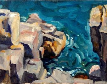 Reflections, Pulpit Rock Monhegan, Maine. 12x16 Landscape Painting, Oil on Canvas, American Impressionist Seascape, Signed Original Fine Art