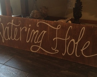 Watering Hole Sign - Large 48x12 Wedding Sign - the watering hole Wooden Distressed sign -   Wedding Sign - watering hole sign