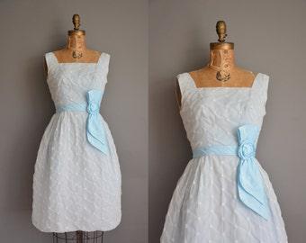 vintage 1950s dress/50s dress/ baby blue chiffon party dress