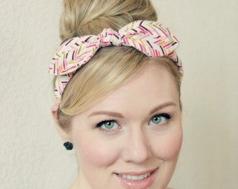 Pink Bow Headband - Wired Retro Herringbone Pattern