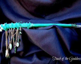 Full Moon in Capricorn Green Wand with Clear Quartz point