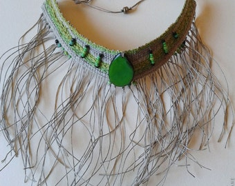 GREEN CHOKER - short necklace - wearable tapestry art - textile jewellery