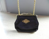 Vintage Purse Small Aubergine Leather Clutch 60s Convertible Shoulder Strap Purse - on sale