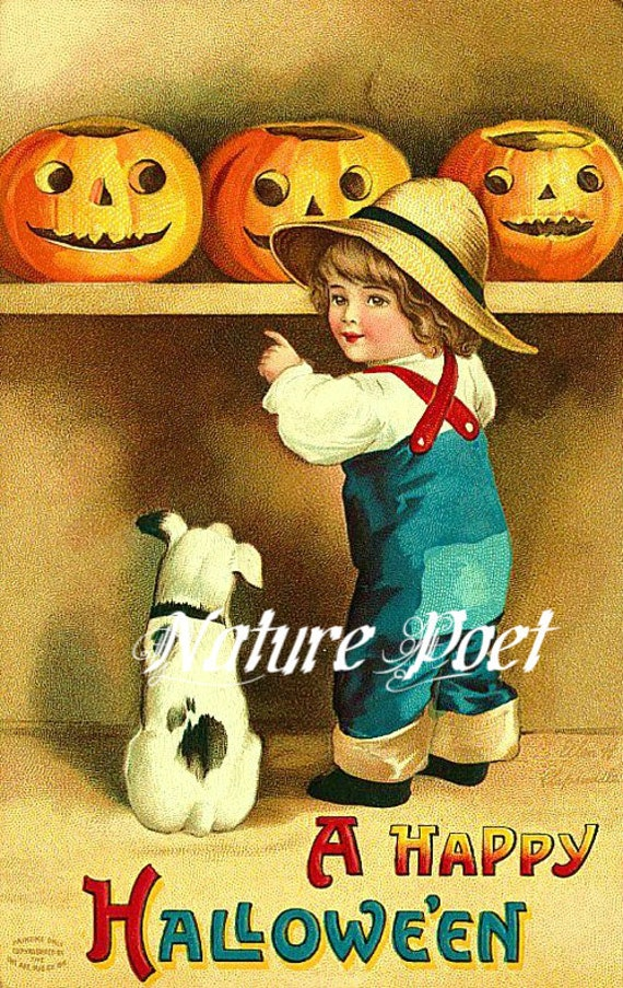 Farmer Boy with Dog Examining Pumpkins Halloween Downloadable Printable Digital Art Image Instant Download,