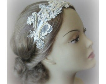 Champagne Wedding Headband, Lace Bridal Headband, Pearl Headband, Gold Lace - JULIET