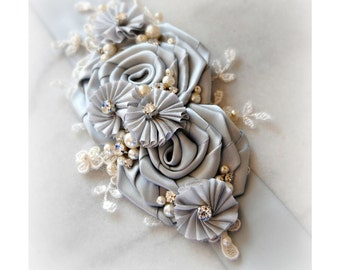Silver Bridal Sash, Crystals and Pearls, Light Grey Bridal Belt, Gray Wedding Belt with Lace - PARK AVENUE
