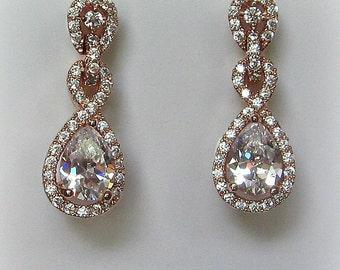 Delicate Rose Gold Earrings, Cubic Zirconia Earrings, Wedding Earrings, Crystal Bridal Earrings, Drop Earrings - ARABELLA