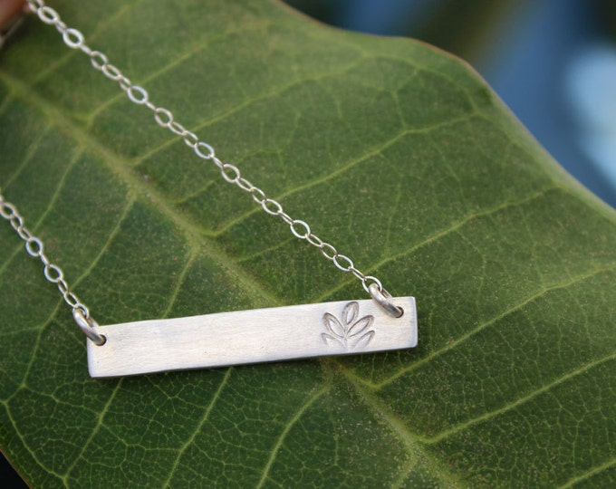 Tree and Sea Reversible Bar Necklace