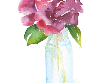 Rose in a Glass Vase Watercolor Painting - 4 x 6 - Giclee Fine Art Print