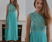 Vintage Evening Gown, Evening Gown, Beaded, 1960s Evening Gown, Wedding, Formal, Turquoise Green Chiffon Evening Gown, Chiffon