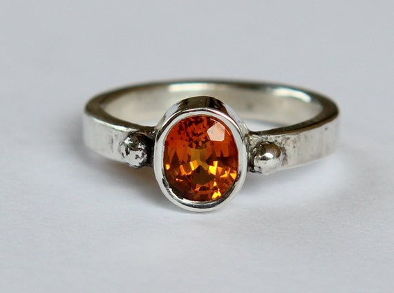 Hand Forged 1.15 ct Natural Orange Sapphire Granulated Bead Argentium Sterling Silver Ring SZ 6