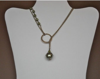 Follow Your Dream Lariat Necklace, Statement necklace, Choker, Pearl necklace, Olivine pearl, Chain necklace, Gift