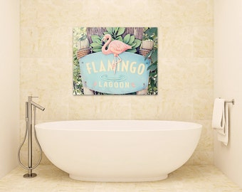 Flamingo bathroom canvas wrap coral pink beach cottage decor large wall art bedroom wall decor canvas print pink blue sign photography