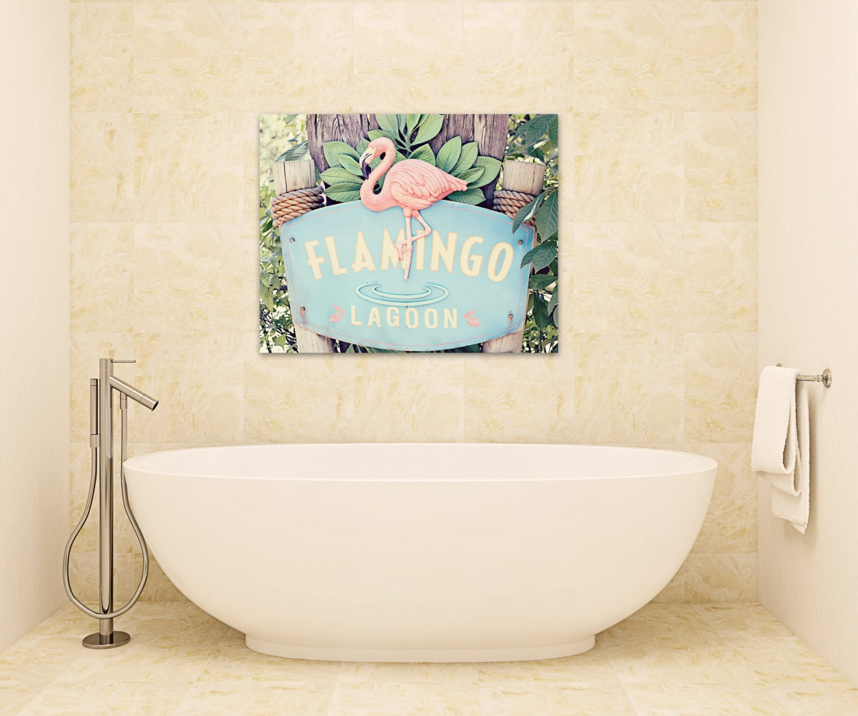 Flamingo Bathroom Canvas Wrap Coral Pink Beach Cottage Decor