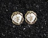 Vintage Siam Silver White Enamel Dancing Goddess Clipback Earrings - 1950's Filigree Sterling in Original Box - Clip Back Design