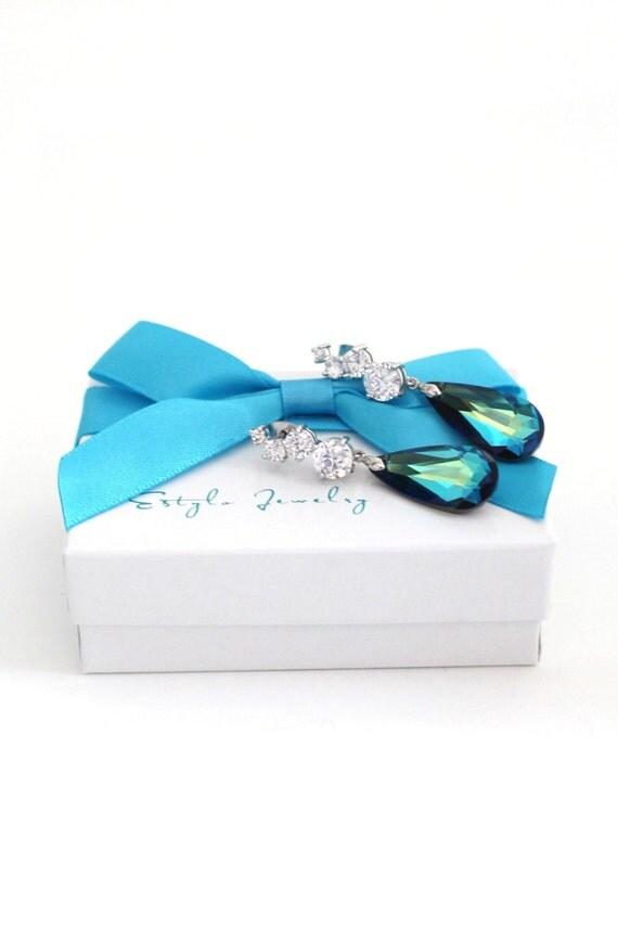 Bermuda Blue Swarovski Drop Earrings Peacock Wedding Jewelry Cubic Zirconia Sterling Silver Post CZ Bridesmaid Gift Wedding Maid of Honor