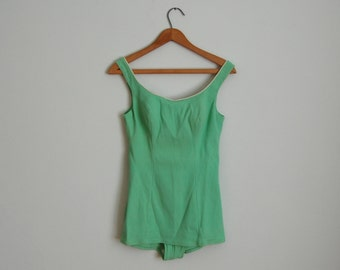 Vintage 1960s Swimsuit - 60s Mint Maillot - The Susie