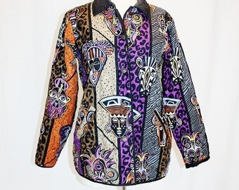 1990's Tribal Silk Jacket Bob Mackie Black Purple Orange Small Vintage Retro 90s Masks African Quilted Wearable Art Cheetah Leopard Kwanzaa