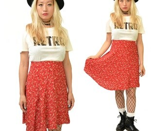 SALE: Cherry Bomb Red Floral 90's Mini Skirt // SML