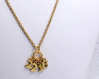 221B Sherlock Necklace in Gold - Sherlock Holmes Necklace for Sherlock Fangirl. Sherlockian Gift.