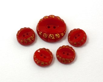 Vintage 50s Buttons Set of 5 Red w Gold luster Glass Buttons