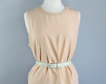Vintage 80s Womens Silk Sand Sleeveless Tank Blouse, Neutral, Minimalist, Minimal, Size Large