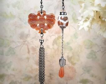Timeless - OOAK Gemstone Tribal Earrings Rust Red Brick Gemstone Butterfly Earrings Carnelian Agate Bronze 14K Goldfill Festival Earrings