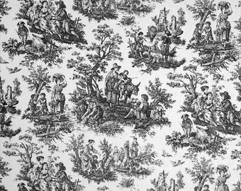 """Black Toile Fabric - Waverly Toile Designer Fabric - Colonial Jamestown """"Country Life"""" Toile - Perfect for Altered Embroidery Projects"""