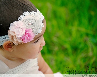 Cameron in Pink- vintage inspired chiffon and lace headband  M2M Well Dressed Cameron dress
