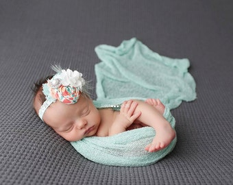 Coral Princess- rosette chiffon burlap headband with feather and lace