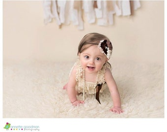 Fall Flourish- Ivory, brown and tan rosette fall inspired headband with lace