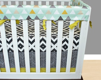 Tribal Bumperless Crib Bedding, Baby Bedding, Rail Guards Mint Charcoal Gray Black Citron Gold Taupe Tribal Aztec Triangles Nursery