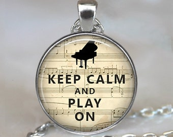 Keep Calm and Play On necklace, music teacher gift piano pendant, piano necklace, piano teacher gift, pianist gift, pianist key chain