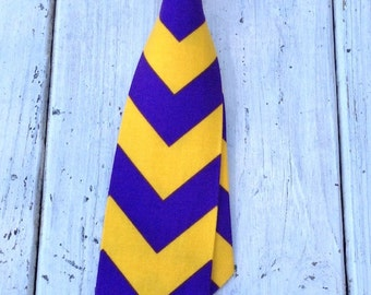 Boys Purple and Gold Chevron Necktie, LSU Boys Tie, ECU Boys Tie, LSU Baby Tie, Baby Tie Photo Prop, Boy's Cake Smash Tie, Boys Birthday Tie