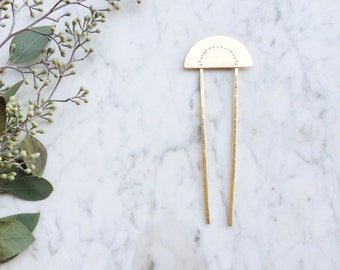 Lunar Hair Fork | Brass Hair Pin | Hair Sticks | Bun Holder | Modern Boho Hairpin Accessory