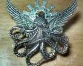 Cthulhu Steampunk Bird Winged Octupus Creature with Halo Large Brooch Pin in Silver Plate, Burmuda Blue Vintage Swarovski