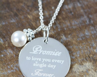 Wedding Gift for the Bride, Engraved Pendant Necklace, 925 Sterling Silver Jewelry