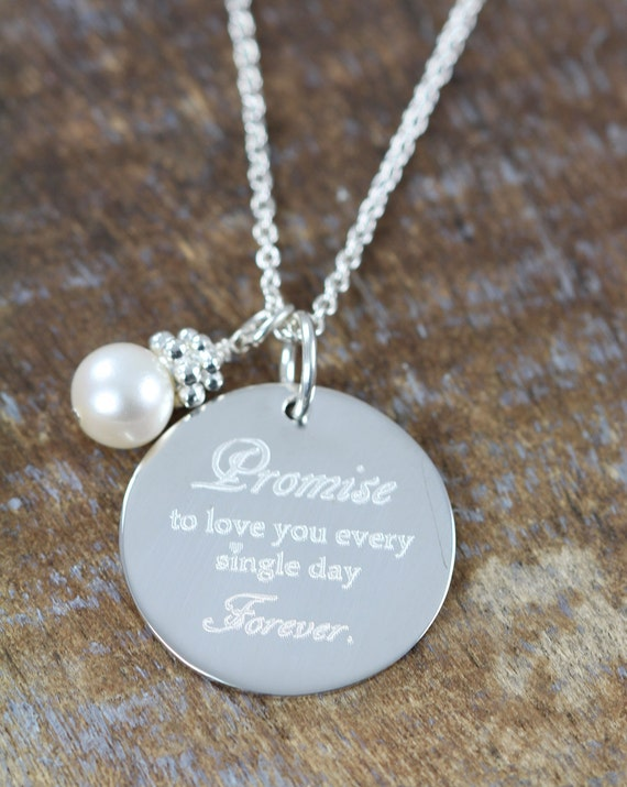 Engraved Wedding Gift For Bride : Wedding Gift for the Bride, Engraved Pendant Necklace, 925 Sterling ...