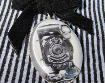 Camera Pin, Jewelry For Photographers, Black and White Photograph under glass, Photo Jewelry, Black Velvet Bow Brooch