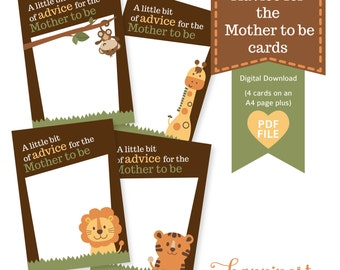 Advice for the Mother to be- Advice Cards for Baby Showers, jungle safari inspired theme