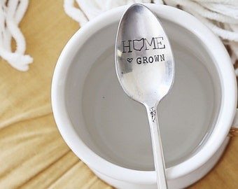 HOME Grown - Hand Stamped Vintage Coffee Spoon for COFFEE LOVERS