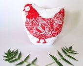 Plush Chicken Hen Pillow. Hand Woodblock Printed. Pick Any Colors. Made to order.