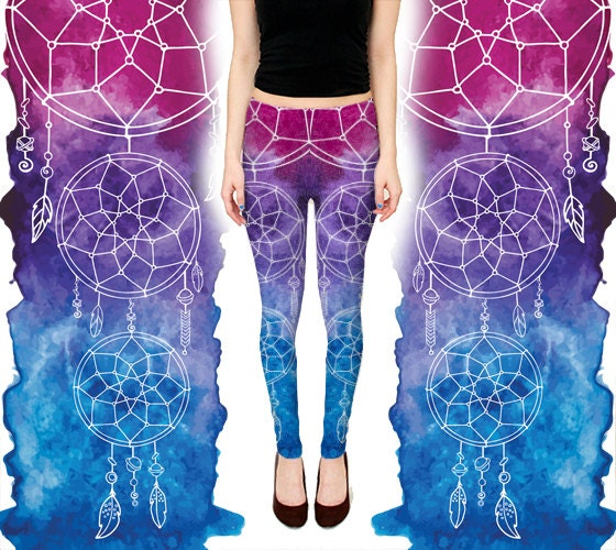 Dream Catcher Leggings - Purple / Blue Ombre Gradient Yoga Pants - Boho Festival Wear - Handmade Digital Print Activewear - Dancewear