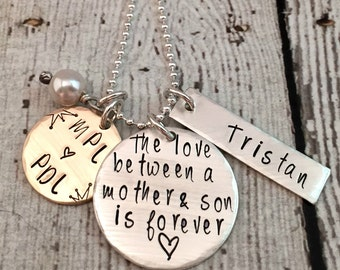 Mother Necklace Personalized - Hand Stamped - Mom and Son - Name Jewelry - Gift for Mom - Gold and Silver - Custom Name Necklace - Initials