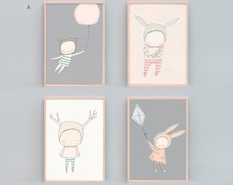 Whimsical Animal Nursery Art Prints Set of 4, Bear Nursery Decor, Rabbit Nursery Print, Deer Nursery Art, Peach, Grey, Mint - A