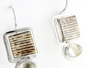 Natural Elegance Petrified Wood and Aquamarine Sterling Silver Earrings
