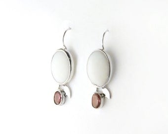 Graceful Opal and Pink Tourmaline Sterling Silver Earrings