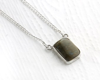 Simple Labradorite and Sterling Silver Necklace