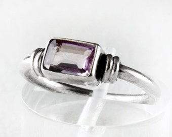 Vintage Natural Amethyst Stone Sterling Silver Ring