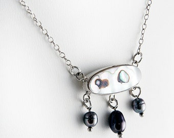 Milky Abalone & Grey Pearl Necklace